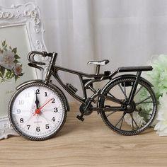 Vintage Metal Bicycle Table Clock Retro Antique Mantel Ornament Home Office