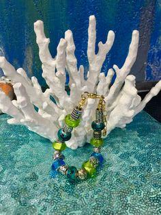Murano Beaded Tibetan Silver gold chain charm bracelet by Frankgilldesign on Etsy