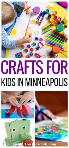 Twin Cities Kids Club Blogs: Crafts for Kids in Minneapolis - Depending on the age of your child, many crafts can help you keep them focused and happy, and therefore not prone to mutiny. You may even have fun yourself while getting to spend time with your kids and creating a craft that you can keep as a memory. | Kids | Crafts | Crafting for Kids | Kids Fun | Creative Kids Games For Kids, Art For Kids, Crafts For Kids, Minneapolis Kids, Cool Kids, Kids Fun, Kids Study, Learning Through Play, Play Doh