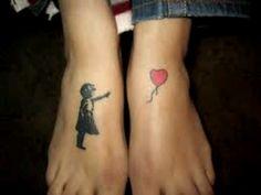 Bansky art tattoo on feet