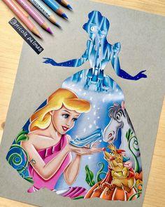 Princess Silhouette Series Cinderella. Walt Disney Characters Art Illustrations. By Nicola Palmas.