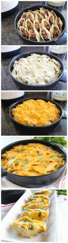 Baked Mexican Stuffed Shells with Creamy Green Chili Sauce