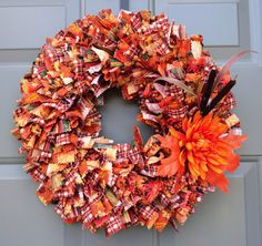 Your place to buy and sell all things handmade Rag Wreaths, Deco Mesh Wreaths, Fall Months, Changing Leaves, Fabric Wreath, Pinking Shears, How To Make Wreaths, Different Fabrics, Warm Colors