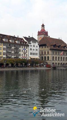 Altstadt von Luzern, im Vordergrund die Reuss