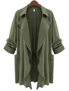 European Style Lapel  Plain Overcoats Overcoats from fashionmia.com