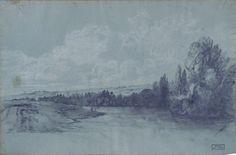 Yvert Marie Hector - Pencil, white chalk - Paysage - ~31x47.1cm; Yvert est un artiste très peu connu, qui aurait exposé régulièrement aux Salons de 1831 à 1859 (de façon certaine à partir de 1844), et notamment des paysages représentant la Seine aux environs de Mantes (qui pourrait également être le sujet du dessin) en 1844, 1857 et 1859, ou d'autres lieux.