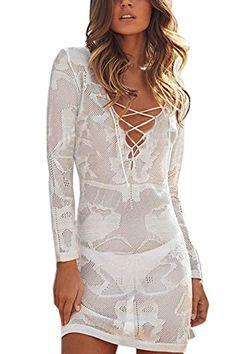 Zeagoo Damen reizvoll tief V-Ausschnitt aushöhlen Häkelarbeit Bikini cover  up StrandKleid weiß, One size