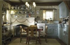 English Cottage Style Kitchen -  Hydrangea Hill Cottage - this post has pictures of the rooms that were filmed in the movie, The Holiday.  What a great kitchen!