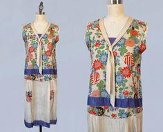 1920s Dress / RARE Pongee Silk Printed Flapper Dress / Japanese Silk Dress from Guermantes Vintage
