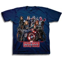 Marvel Captain America Boys' Characters Short Sleeve T-Shirt, Size: 18, Blue