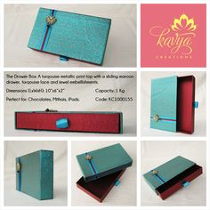 Our Drawer Box: A Turquoise metallic print top with a Maroon sliding drawer, Turquoise Lace and Jewel Embellishments. Like if you love it, comment if you're interested in buying and share if you would love to receive this as a gift!