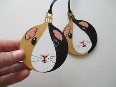 2x Guinea Pig Christmas Bauble Hanging Tree Decorations Hand Painted Pet Animal