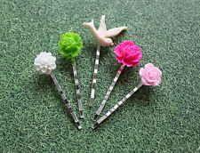 Set of 5 Resin Hair Pins Mixed Pink Colours