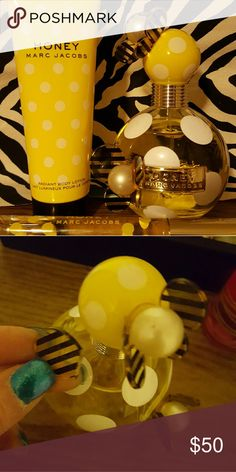 """Honey Marc Jacobs 3 Pc. Set Lovely, long lasting scent for Spring/Summer!! New, no box. Full set, no separating. Fragrance Spray 3.4 OZ. I've had trouble with the bee wings and banner emblem, had to glue emblem back on, and a couple wings, one of them as shown recently broke off again so I have attempted another reglue., Radiant Body Lotion 2.5 OZ., Rollerball, I can't see the bottle size on bottom. There are numbers printed over the size. So I measured the Rollerball and it's 5"""" length…"""