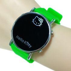 Fashion Cartoon Watch Hello Kitty Watch for Girls Children Casual Silicone Digital LED Quartz Wristwatches