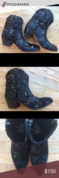 Donald J Pliner-Black hair calf booties 25th anniv NEW and BEAUTIFUL! 25th Anniversary Collection! Genuine calf hair, black with white spots (like splashed paint). Donald Pliner signed bottom of boot! Donald J. Pliner Shoes Ankle Boots & Booties