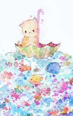 hello little melonkitten on a journey over the sea. have a nice day cat and sea Cute Cartoon Drawings, Cute Kawaii Drawings, Cute Animal Drawings, Kawaii Illustration, Illustration Inspiration, Kawaii Background, Kawaii Doodles, Kawaii Cat, Kawaii Wallpaper