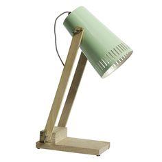 Lampe à poser en métal et bois Nordal vert menthe