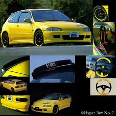 R.S. Bros 90's JDM Honda Civic EGwith MS Design lip kit, R.S. Bros spoiler, custom steering wheel and seat and Rays RS-B 24c wheels. Very iconic car of the 90's!  http://raybros.jp/