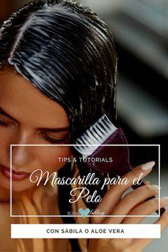 Mascarilla para el pelo con sábila o aloe vera para promover su crecimiento, humectar y darle brillo.