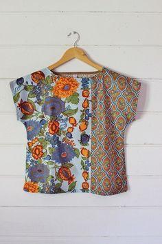 Upcycled Womens Shirt Top Blouse Petite Vintage Linen Tea Towel Spring Floral Orange Blue Brown Retro Cotton Patchwork X Small - Batik Fashion, Diy Fashion, Dress Sewing Patterns, Clothing Patterns, Sewing Clothes, Diy Clothes, Sewing Shirts, Mode Batik, Diy Vetement