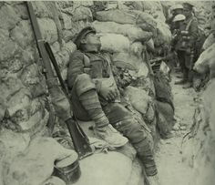 Thiepval 1916: An exhausted soldier asleep in a front line trench. An image from our 1st World War education pack, full of interesting stuff! http://bodelwyddan-castle.co.uk/resources.html
