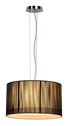 LASSON - Interior lighting Hanging lamp Fluo. Bulb: 1x Fluo E27 - 0-23 Watt. Not adjustable. Bulb not included. Fixture on mains voltage. Finishing: Black. Diameter x Height Shade: 45x25cm. Length stave/cable: 15x2,5cm.