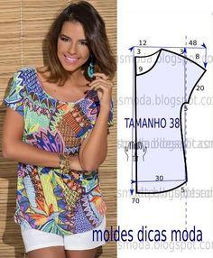 Analise de forma detalhada o desenho do molde blusa estampada. Esta blusa é simples e bela, veste de forma descontraída e elegante. As medidas correspondem: