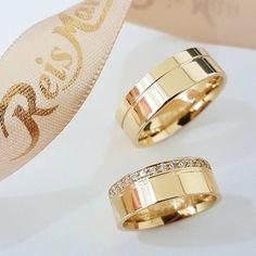 As alianças mais bonitas do Instagram: Alianças Suiça ♥ Casamento e Noivado em Ouro 18K - Reisman