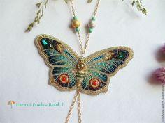 """Купить Колье-кулон """"Лето на кончиках крыльев"""". - комбинированный, бабочка, лето, крылышки, нежность, женственность"""