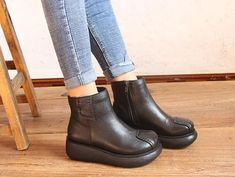 Handmade Winter Black Platform Shoes, Flat Short Boots,Genius Leather Shoes for Women, Leather Booties, Casual flatform shoes