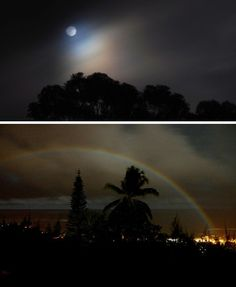 Moonbows - Moonbows, like moondogs, are the lunar counterpart to rainbows. They're also much more difficult to witness due to the requirement of a passing rainstorm and, ideally, a bright full moon unblocked by clouds.