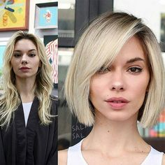 Warning: These hair transformation before & after photos might cause you to book a haircut or color transformation appointment with your stylist ASAP! Before After Hair, Before And After Haircut, Long To Short Hair, Short Hair Cuts, Short Straight Hairstyles, Hair Curt, Medium Hair Styles, Short Hair Styles, Hair Transformation