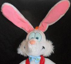 """Roger Rabbit Plush Doll Disney 1987 19"""" Poseable Ears Red Overalls Easter $39.99"""