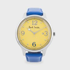 Paul Smith - Classic City Watch in Yellow with Blue Leather Band