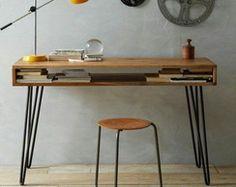 Schreibtisch im vintage stil aus mangoholz bureau