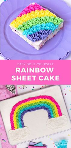 A delicious funfetti sheet cake with vanilla buttercream and an adorable rainbow design. Before I talk about the redemption of sheet cakes, I want to talk about the significance of this Rainbow Cake... 12 Inch Cake, Rainbow Sprinkles, Rainbow Cakes, Ombre Cake, Cake Delivery, Pancakes And Waffles, Vanilla Buttercream, Homemade Desserts, Cake Ingredients