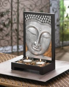 Silver Tone Buddha Plaque Candle Decor in Wood Frame