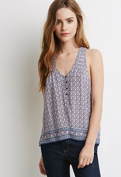 Floral Print Buttoned Tank | Forever 21 - 2000078221