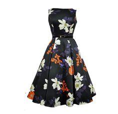 Lady V Hepburn 50's Dress Japanese Flowers Black