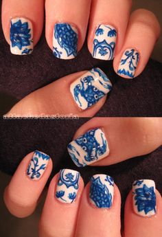 Fine China Nails | 17 Gorgeous Blue Nails Art