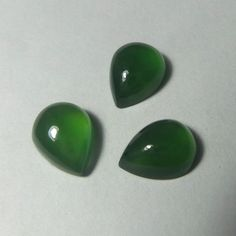 7 Carat 10x8 MM Natural Top Green Serpentine Pear Shape Cabochons 3 Pieces Lot #Unbranded