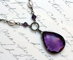 Amethyst Necklace with Pearl on Sterling Silver