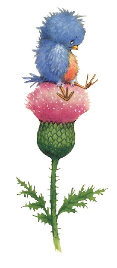 CUTE BIRD AND FLOWER CLIP ART