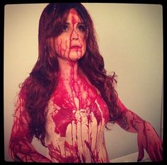 Kelly Osbourne dressed as Carrie for Halloween