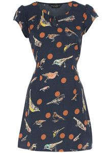 Dorothy Perkins Navy Cream Bird Print Tunic Dress Top Sizes 6 22 Brand New   eBay