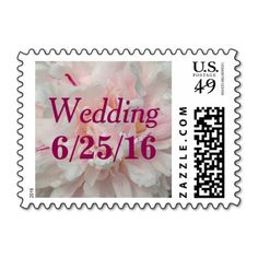 Blush Pink Peony Wedding Postage Stamps - Peonies