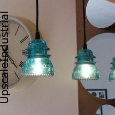 Custom made to order VINTAGE 1920s - 60s glass telegraph insulator pendant lights designed with beautiful Hemingray insulators now available in six original color choices. (Left to right on pic: Straw, Clear, Ice Blue, Aquamarine, Blue, Aqua) We have a limited supply of the BEAUTIFUL Whitehall Aquamarine color. OR  You can now choose a custom stained vintage Hemingray insulators in five jewel/gemstone colors. (Left to right on pic; Amber, Emerald, Ruby, Sapphire, Amethyst)  Repurposed&#x...