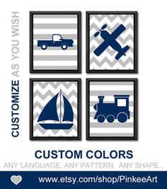 Navy and grey transportation boy wall art car sailboat air plane train baby boy nursery baby boys room decor vehicle kids art boy playroom set of 4.