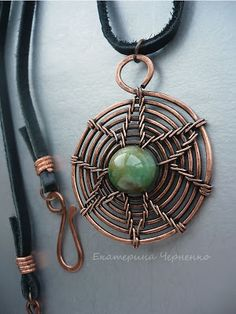Starburst Wire Wrapped Spiral Pendant with central stone